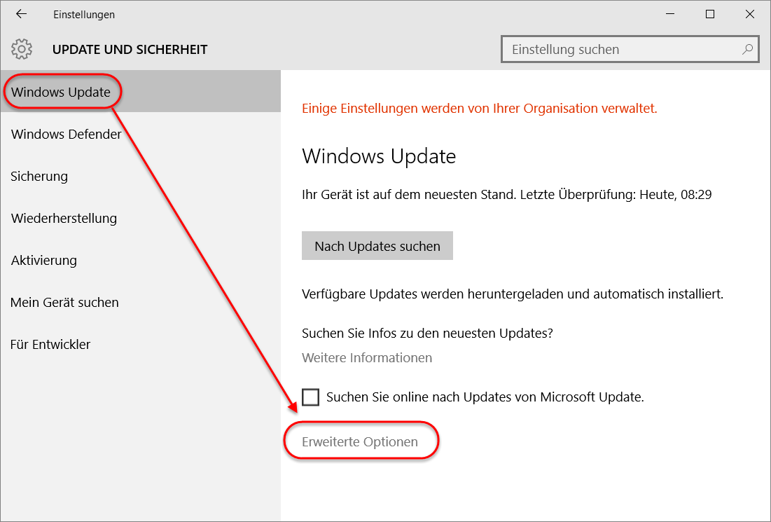 Einstellungen Windows-Update