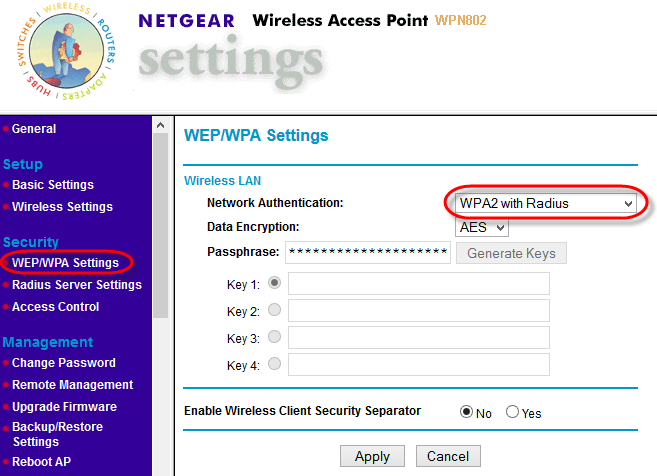 4 2 WLAN-AP-WEP WPA-Settings